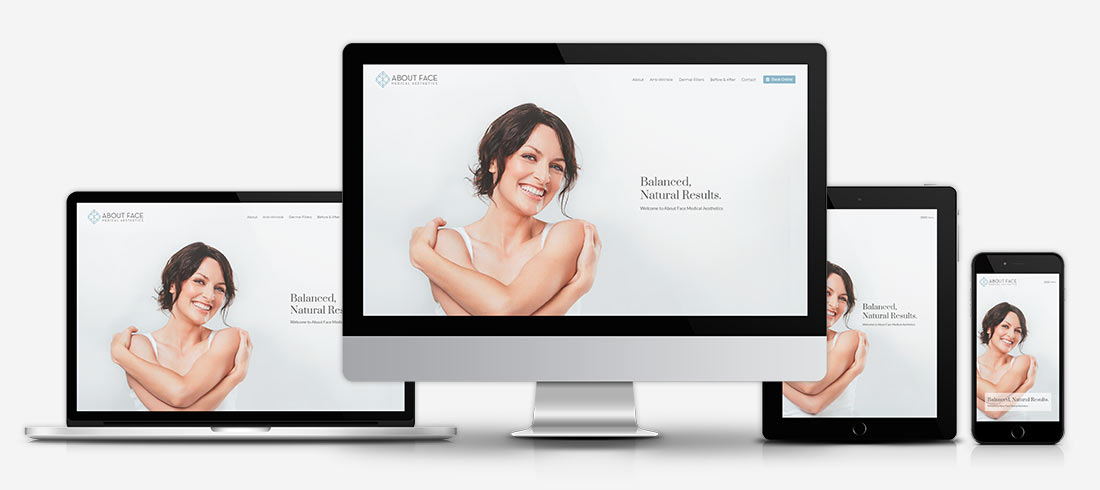 About Face Medical Aesthetics website on multiple devices