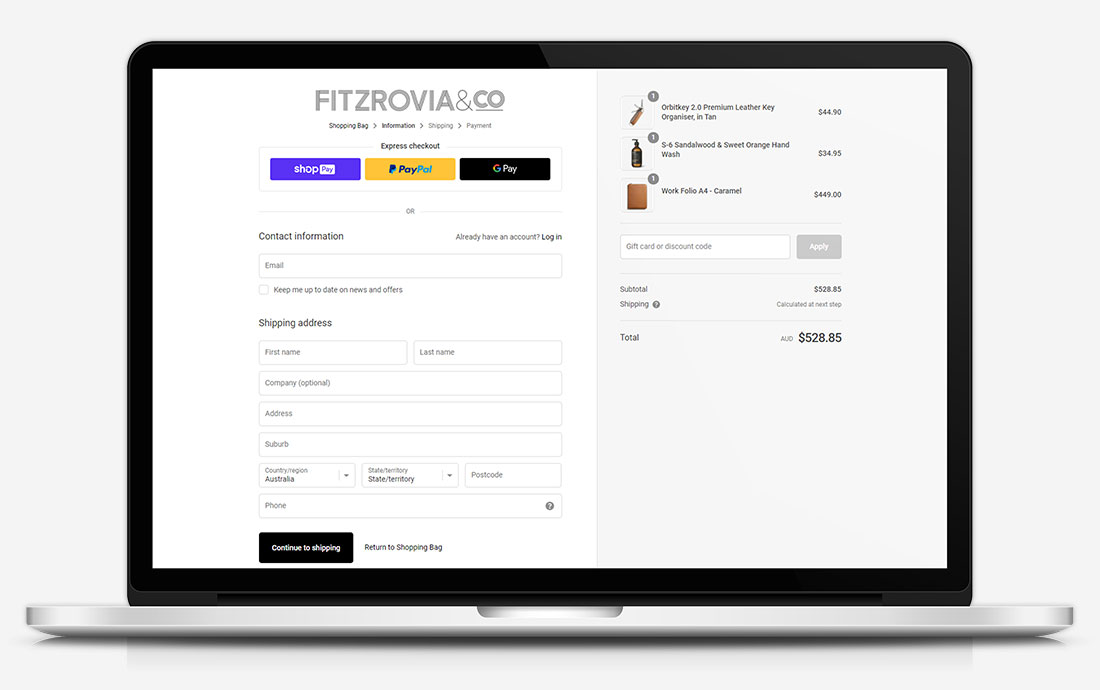 Fitzrovia & Co. Payment Page